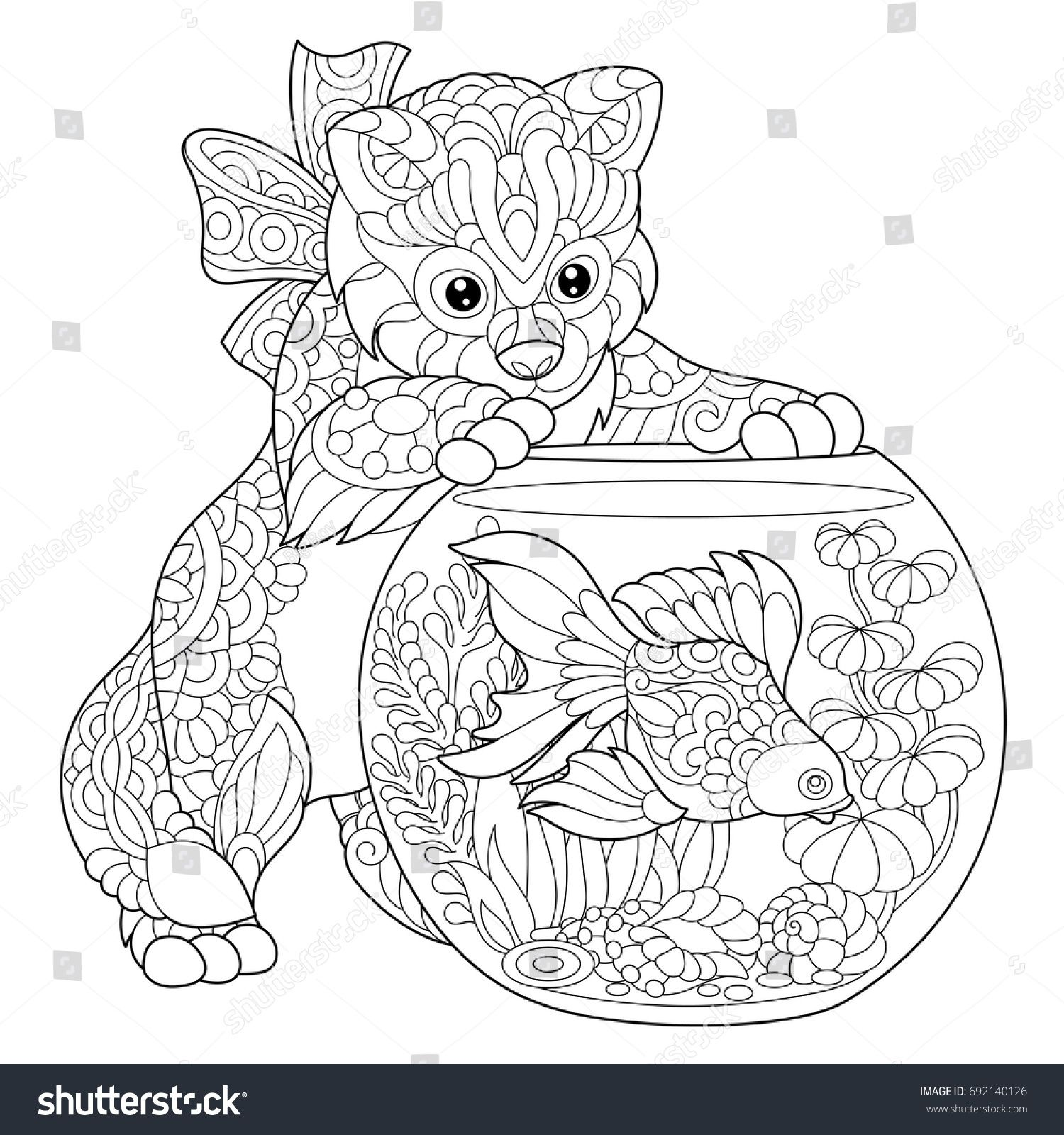 Anti stress colouring doodle and dream - Coloring Page Of Kitten Wondering About Goldfish In Aquarium Freehand Sketch Drawing For Adult Antistress