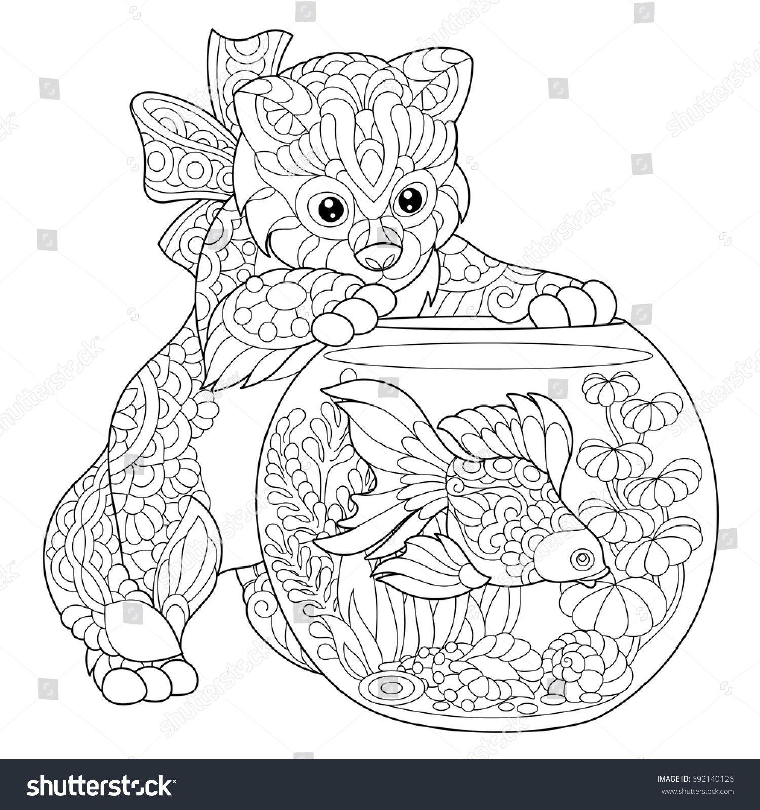 Coloring page of kitten wondering