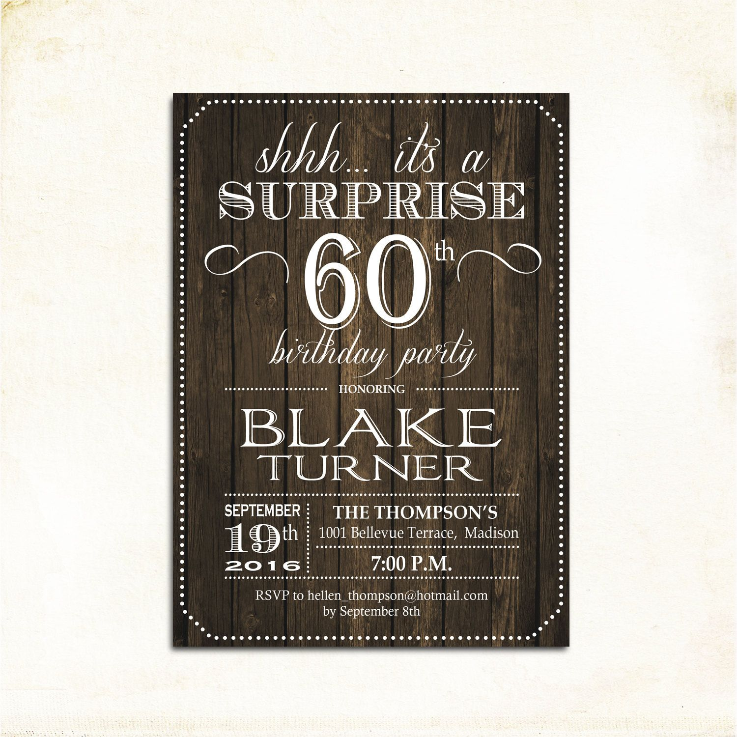 Surprise 60th Birthday Invitation Any Age Rustic