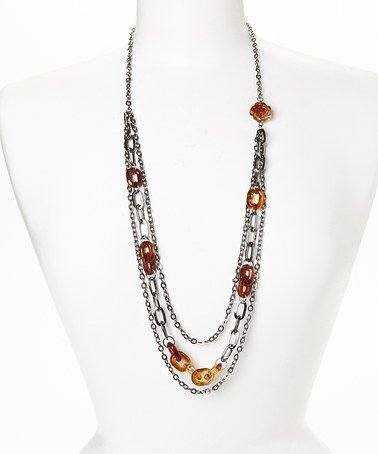 Look what I found on #zulily! Silver & Brown Tortoise Link Triple-Strand Necklace #zulilyfinds