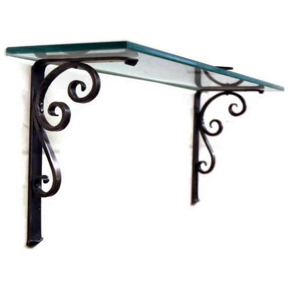 Hand Forged Iron Shelf Bracket Trumpet Scroll Design Style 07