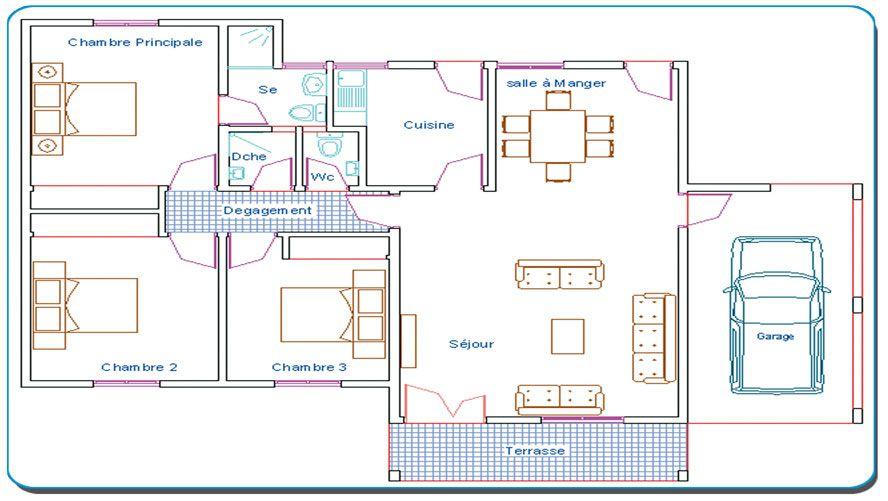 Plan Villa Basse 4 Pieces Plans De Maison 5
