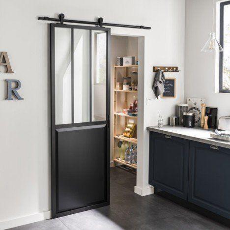 Ensemble porte coulissante Atelier alu verre clair avec rail Bolero - decoration pour porte d interieur