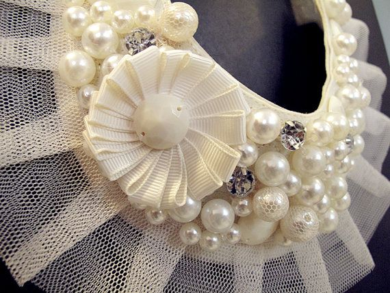 Grand Vintage Party Crystal Pearl Lace Ivory Adjustable Collar Necklace For Blouse Dress