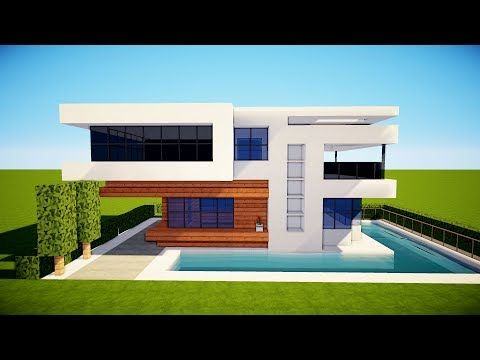 Minecraft How To Build A Small Modern House Tutorial 17 Youtube Minecraft Small House Modern Minecraft Houses Minecraft Modern