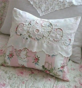 floral cushion with a piece of embroidered cutwork shabby chic pinterest kissen. Black Bedroom Furniture Sets. Home Design Ideas