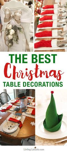 From napkin folding ideas to snowman plates and centerpieces, these - christmas table decorations