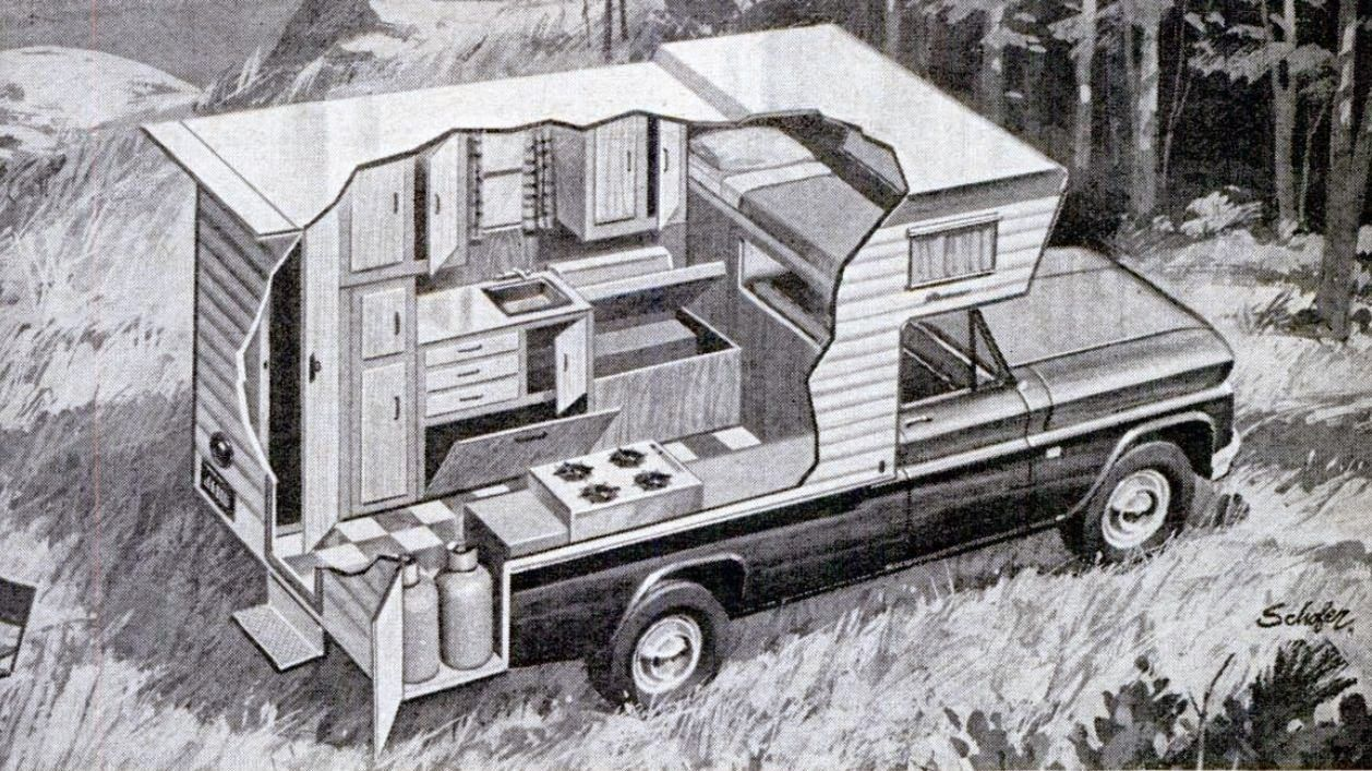 Pickup Truck Camper Cutaway 1967 With Images Slide In Truck