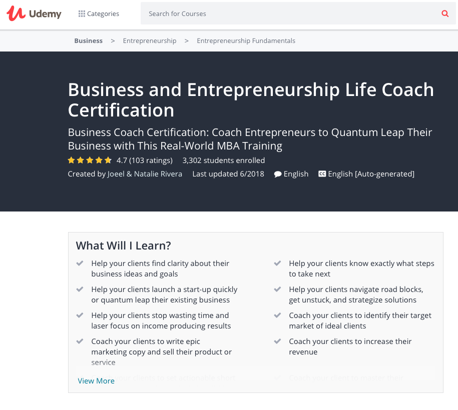 Business And Entrepreneurship Life Coach Certification Business
