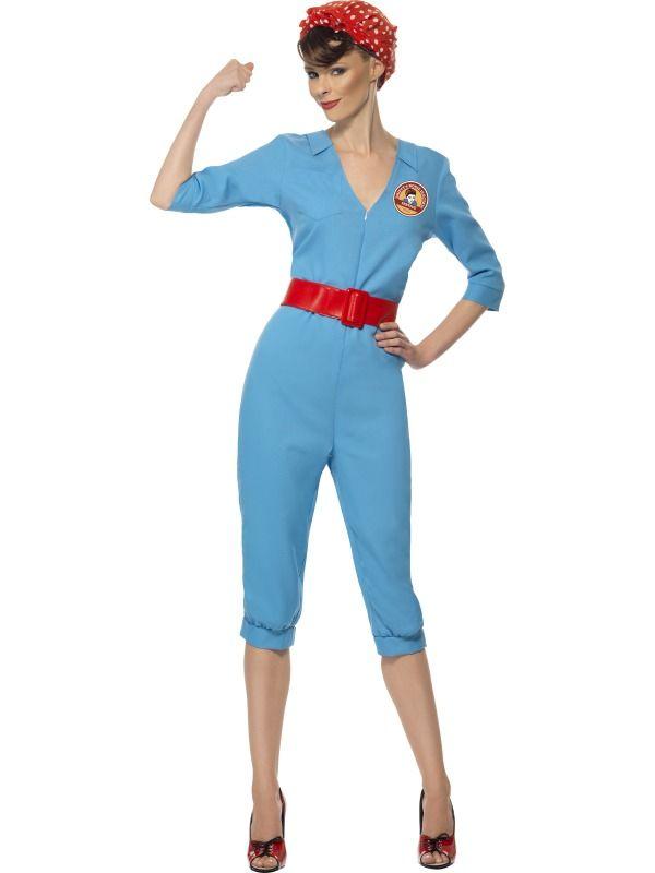 1940s Factory Girl Costume Womens Fancy Dress Adult Smiffys | eBay  sc 1 st  Pinterest & 1940s Factory Girl Costume Womens Fancy Dress Adult Smiffys | eBay ...