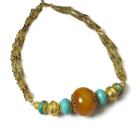 Chunky Bead Necklace, Turquoise and Amber, Boho Jewelry by BluKatDesign on Etsy https://www.etsy.com/listing/93170890/chunky-bead-necklace-turquoise-and-amber