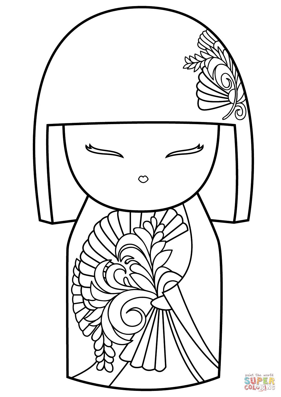 Kokeshi dolls, Coloring pages, Kokeshi
