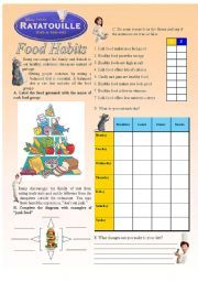 english worksheet ratatouille food habits 2 3 spanish lessons ratatouille film. Black Bedroom Furniture Sets. Home Design Ideas