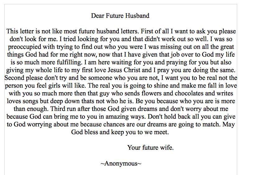 Dear Future Husband … | To my future husband, Dear future ...