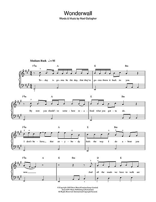 Oasis 'Wonderwall' Sheet Music Notes, Chords | Download