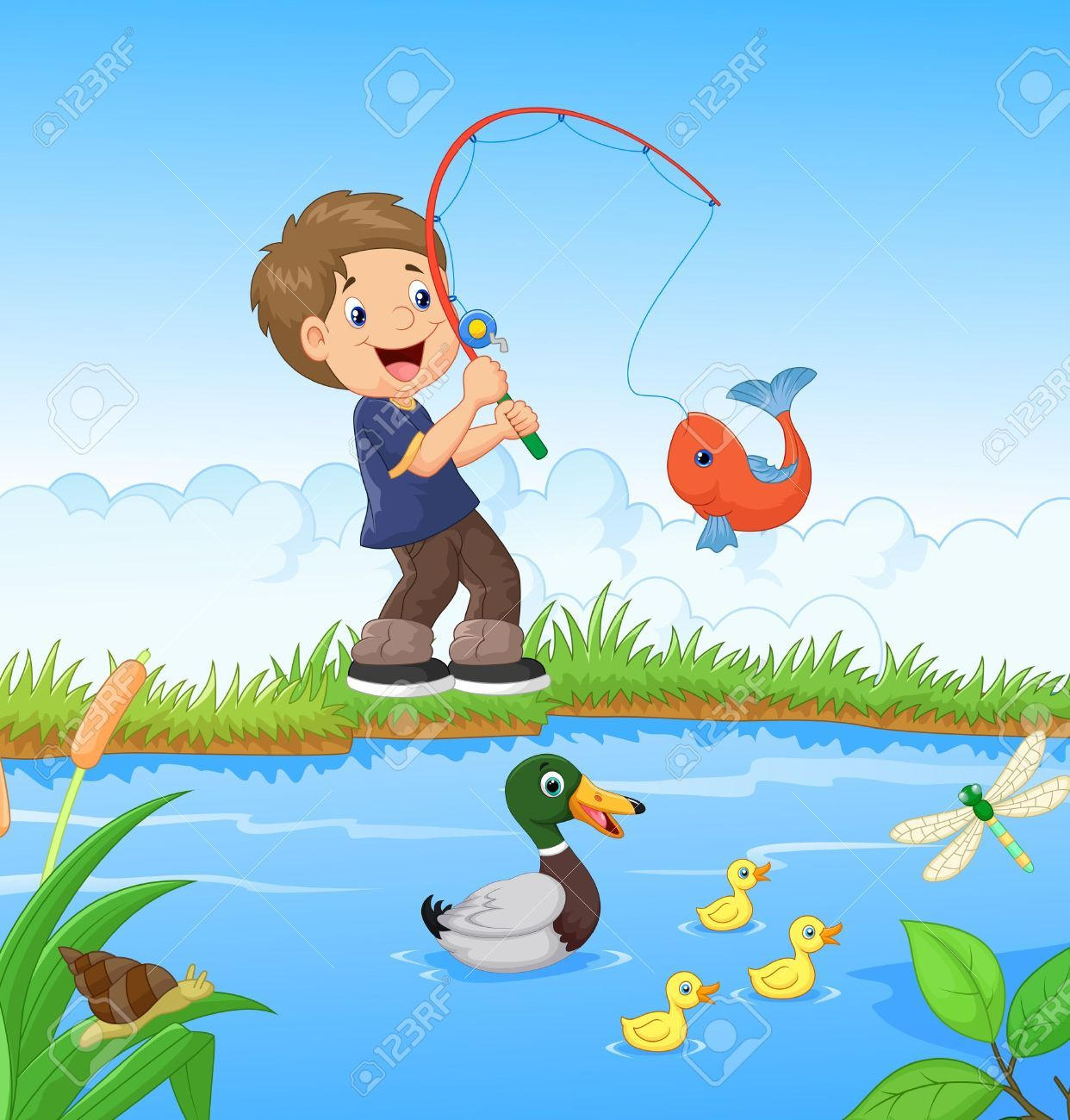 Image Result For Little Boy Fishing Cartoon Boy Fishing Fish Painting Baby Bedtime