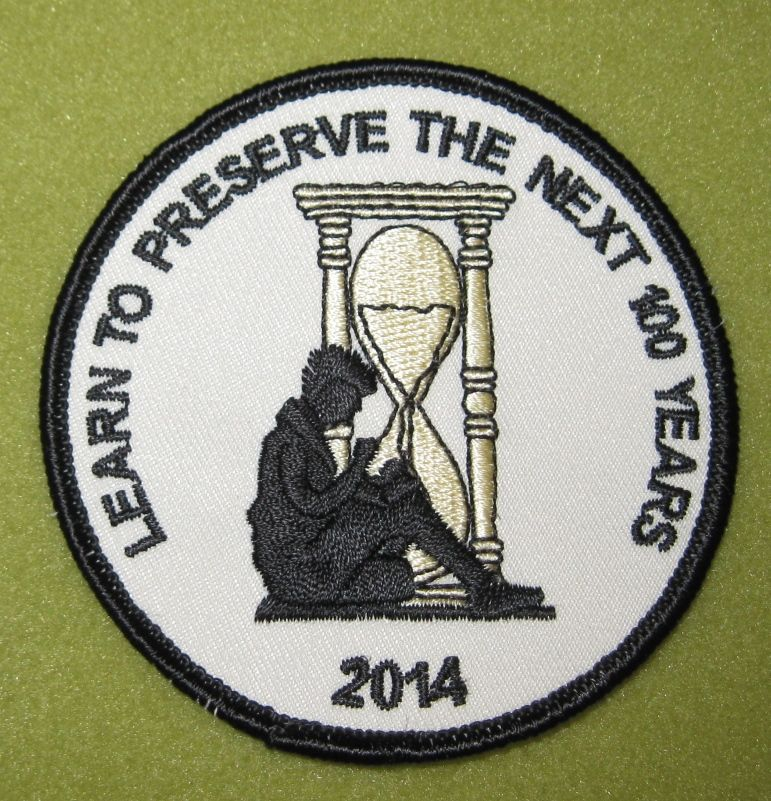 Girl Scout Greater Chicago Northwestern Indiana Learn to Preserve the NEXT 100 years patch. GSUSA Archive Committee patch. Thank you, you know who.
