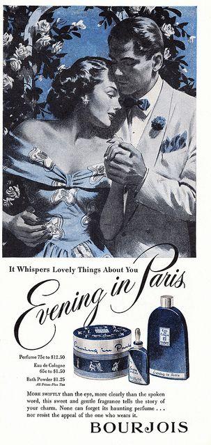 Evening in Paris  #vintage #ad - Bourjois Perfume