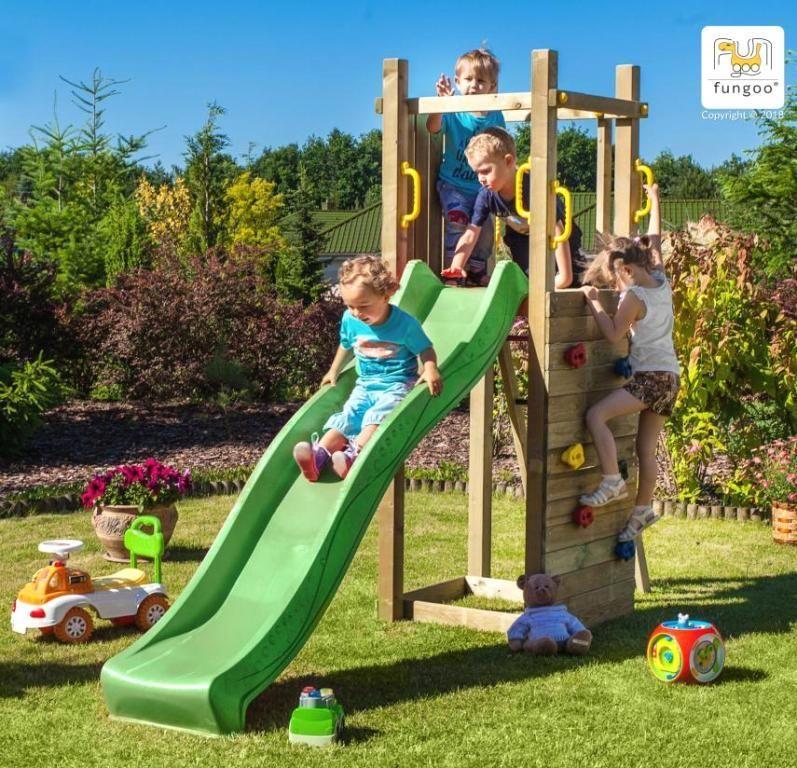 Spielturm Funny 3 Mit Rutsche Kletterwand Griffe Und Leiter Kinder Klettergerust Rutsche Garten Diy Spielplatz