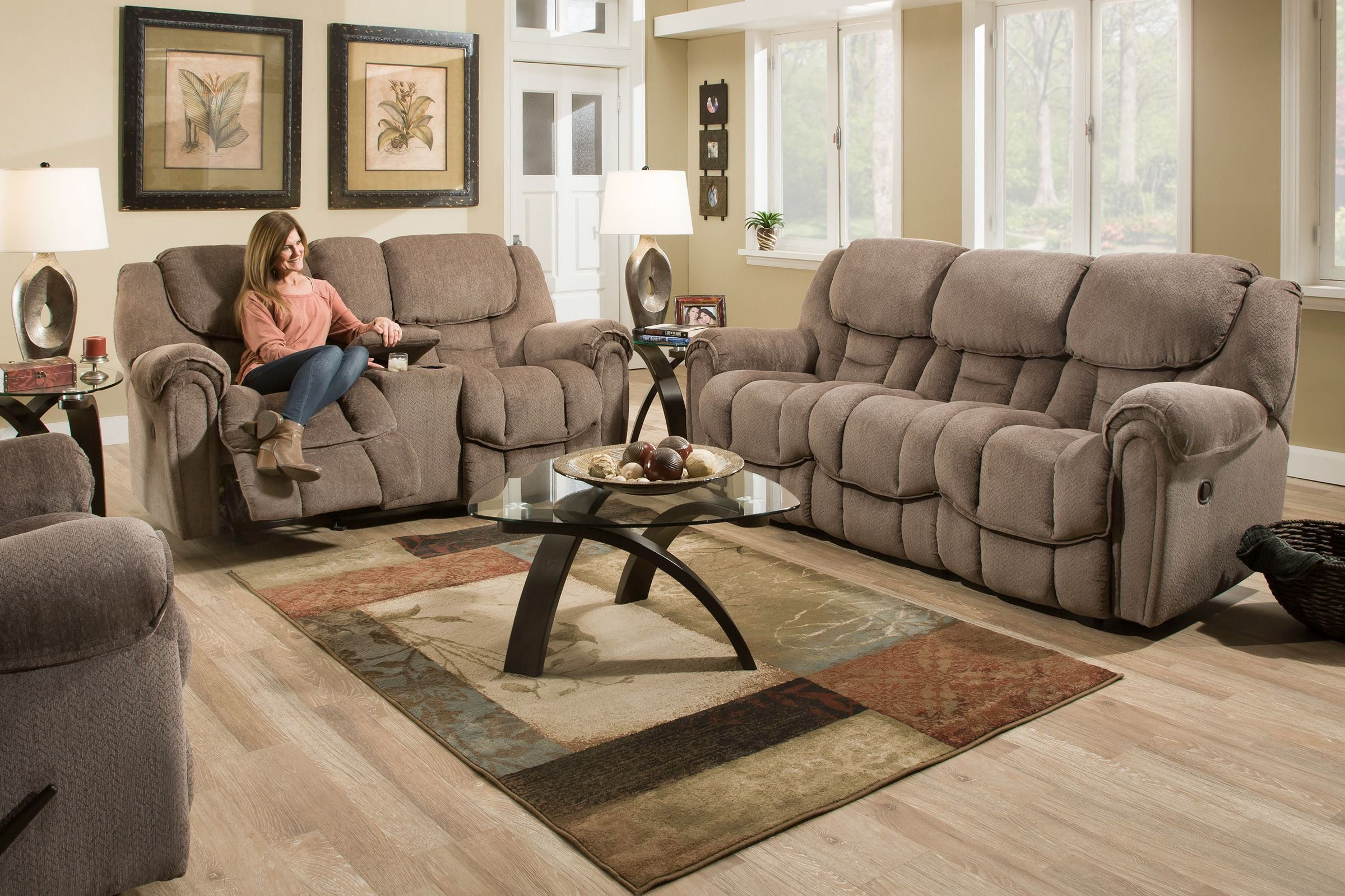 Emery Manual Rocking Reclining Loveseat with Console