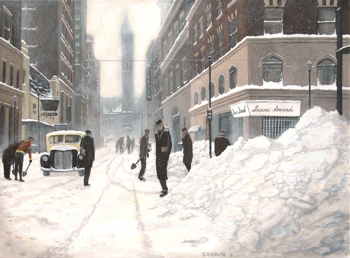 Bay Street #Toronto during a 1944 blizzard. www.daverheaume.com