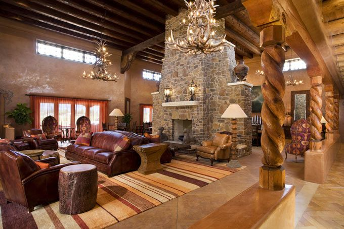 Visions Design Group Out Of Santa Fe Stone Rock Fireplace