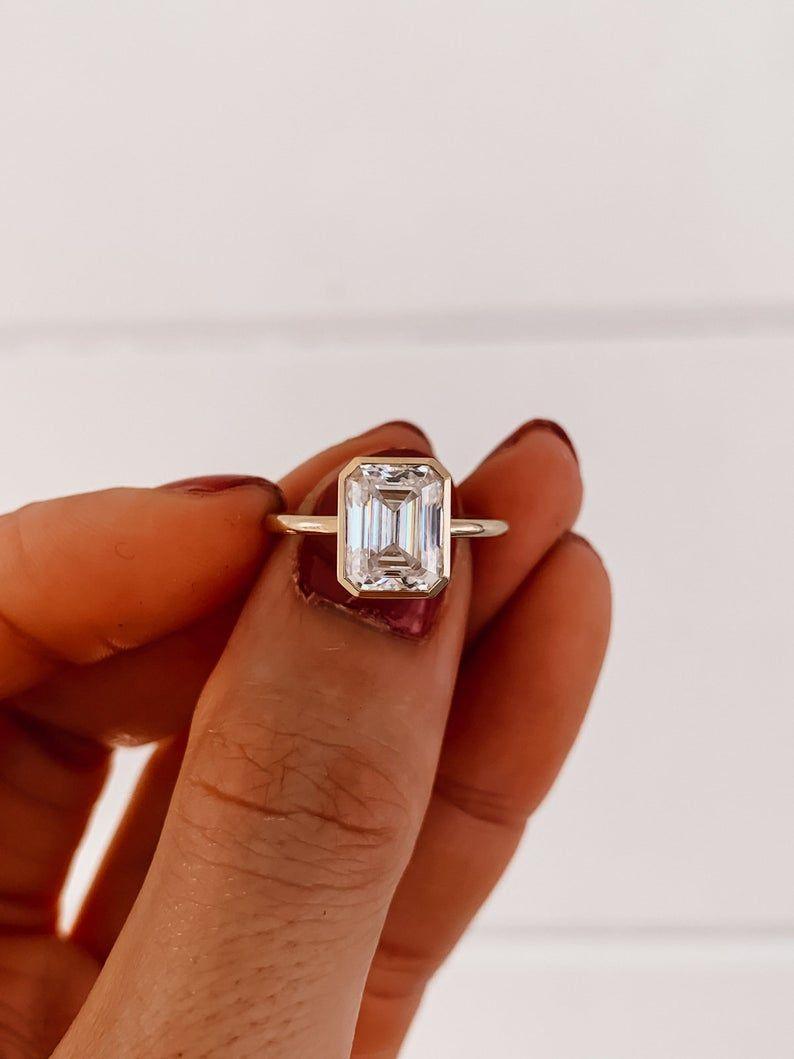 The Beth – Emerald Bezel Ring   Zen Moissanite
