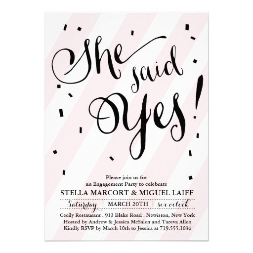 Blush Pink Stripe She Said Yes Engagement Invites
