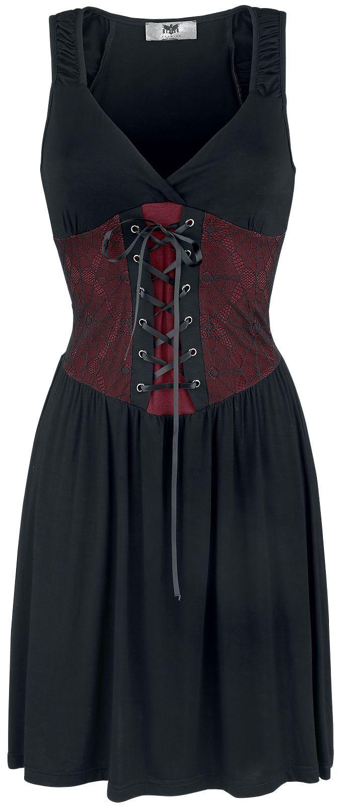 Lyhyt mekko EMP:n Black Premiumilta:  - Hihaton - Kaulus: kaula-aukko - Pitsi - Edessä nyöritys satiinisella vyötärönauhalla