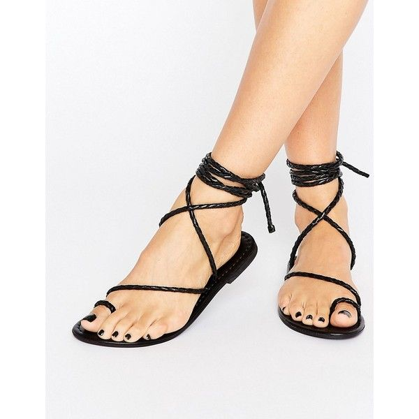 ASOS FIRE FLY Leather Lace Up Flat Sandals (2,070 INR