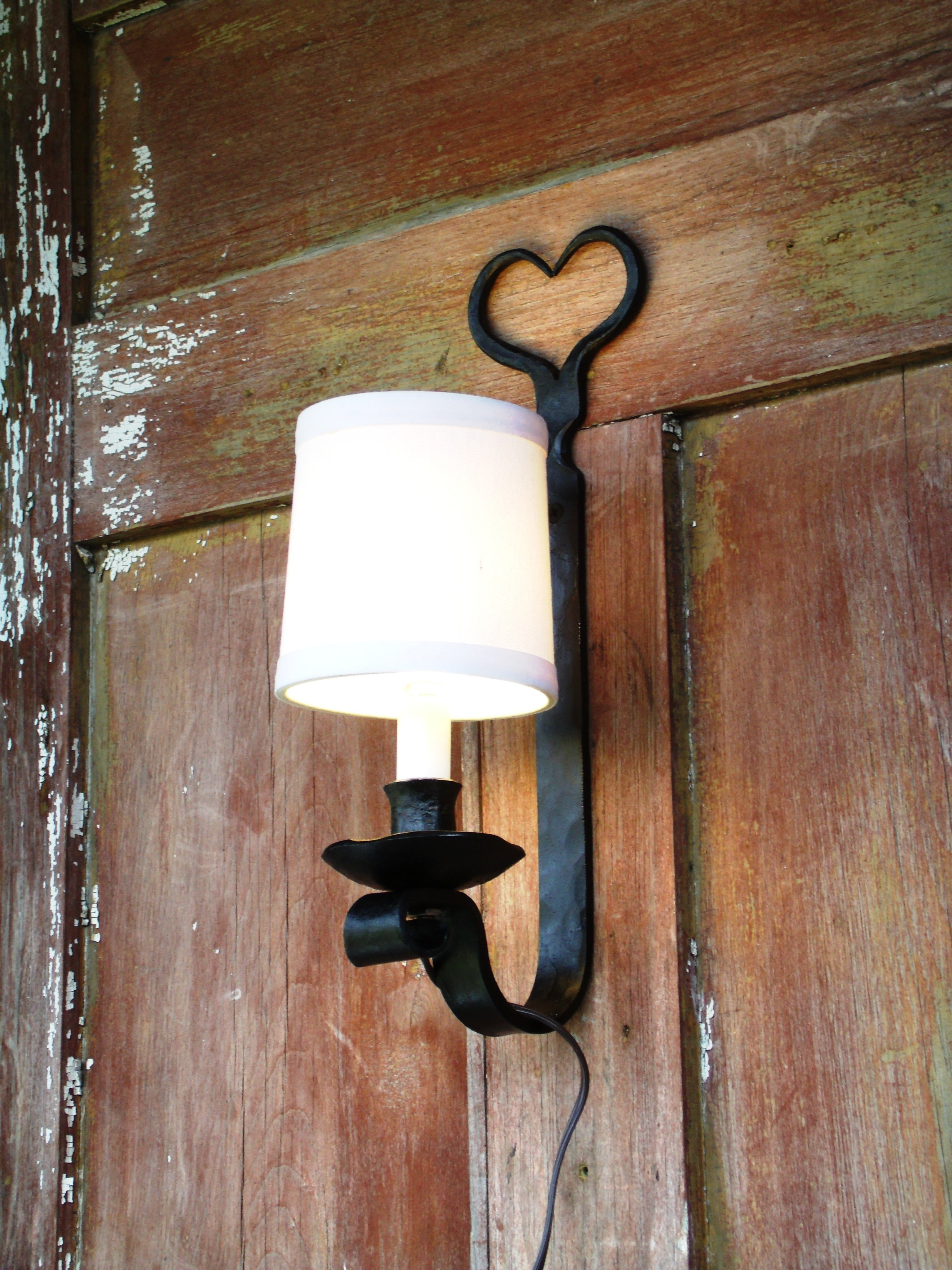 Electric Wall Sconce Heart Shape Hand Forged Wrought Iron Electric Wall Sconce Sconces Wall Sconces
