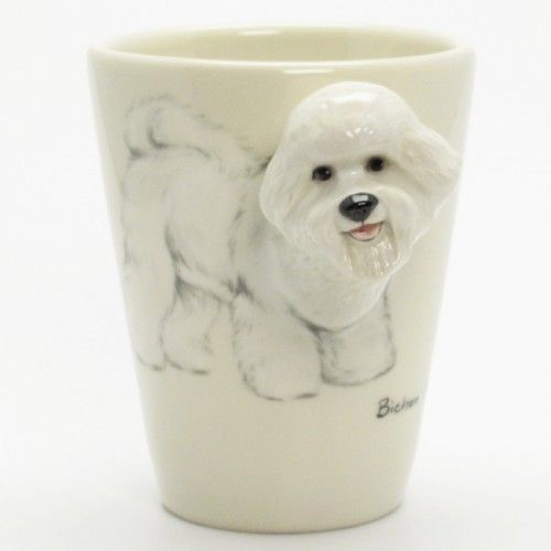 Wedding Gifts For Dog Lovers: Bichon Frise Mug 00001 Ceramic 3D Handmade Pet Lover Gift