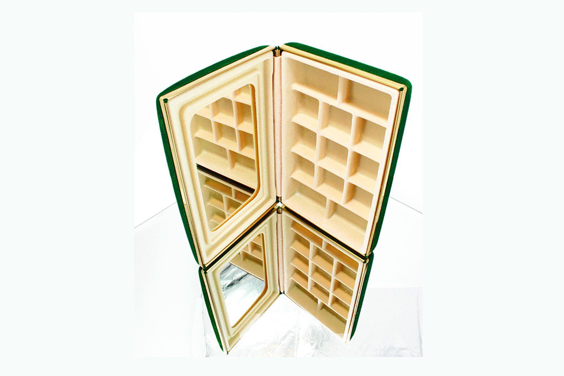 Vintage Jewelry Box Compact Travel Jewelry Organizer Case Green