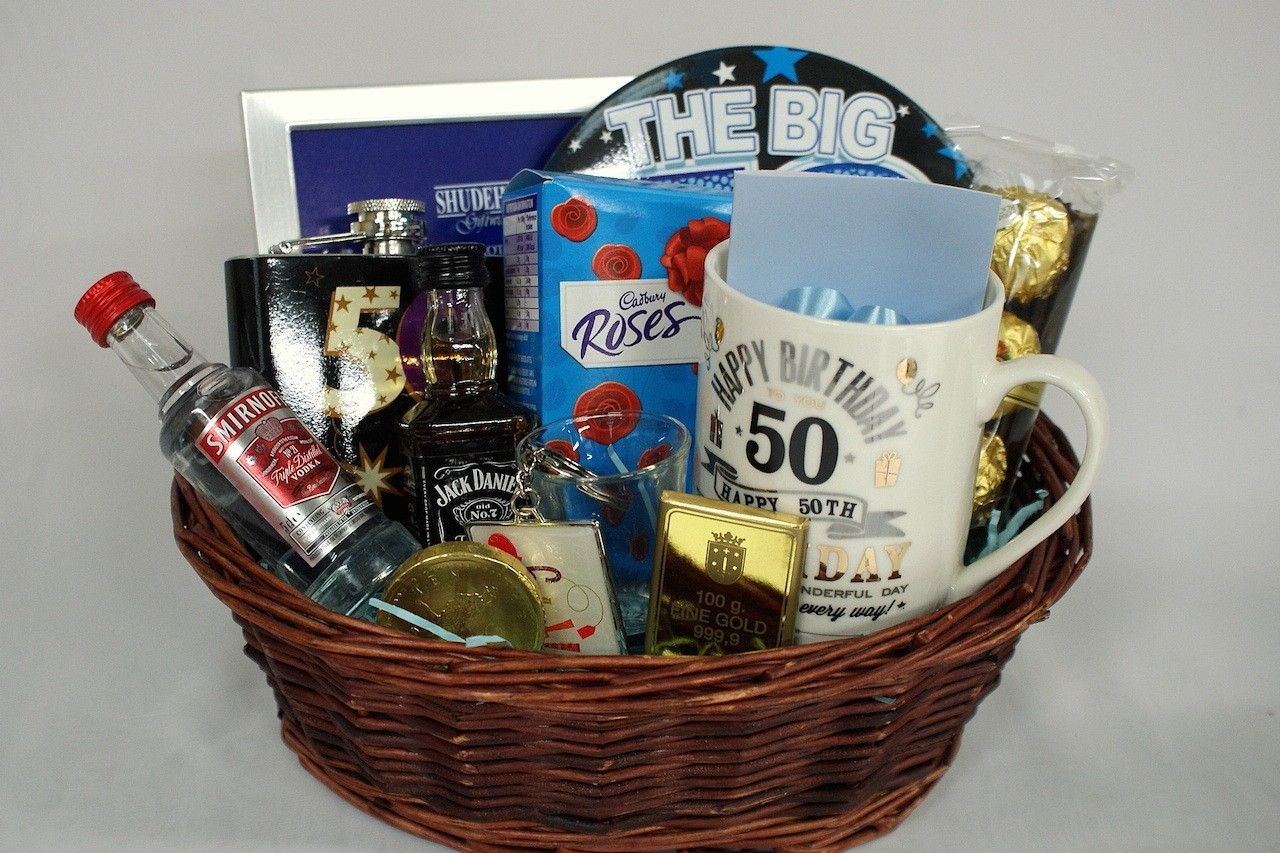 50th birthday gift basket for men personalised gift