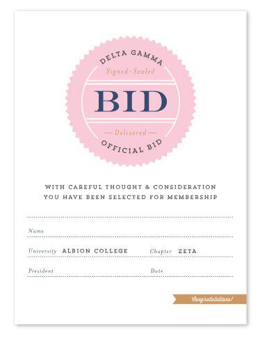Delta Gamma Official Bid Day Cards #deltagamma #deegee #dg #sorority #thelettersco #bidday