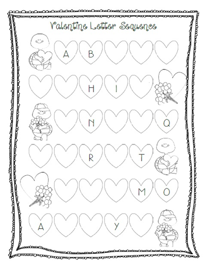 valentine 39 s day letter sequencing activity printable worksheets activities lesson plans. Black Bedroom Furniture Sets. Home Design Ideas