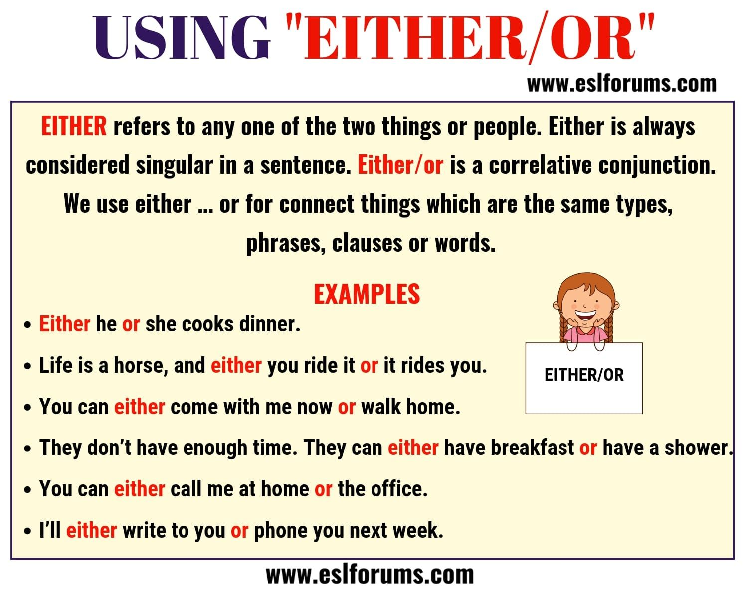 Either Or Usage And Useful Examples In English