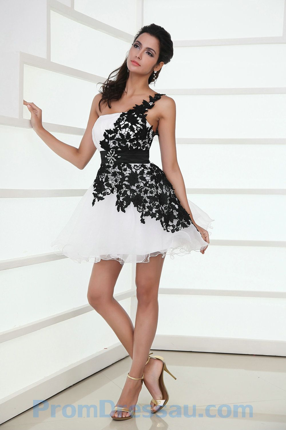 e93fc838f605 short black and white flowy bridesmaid dresses