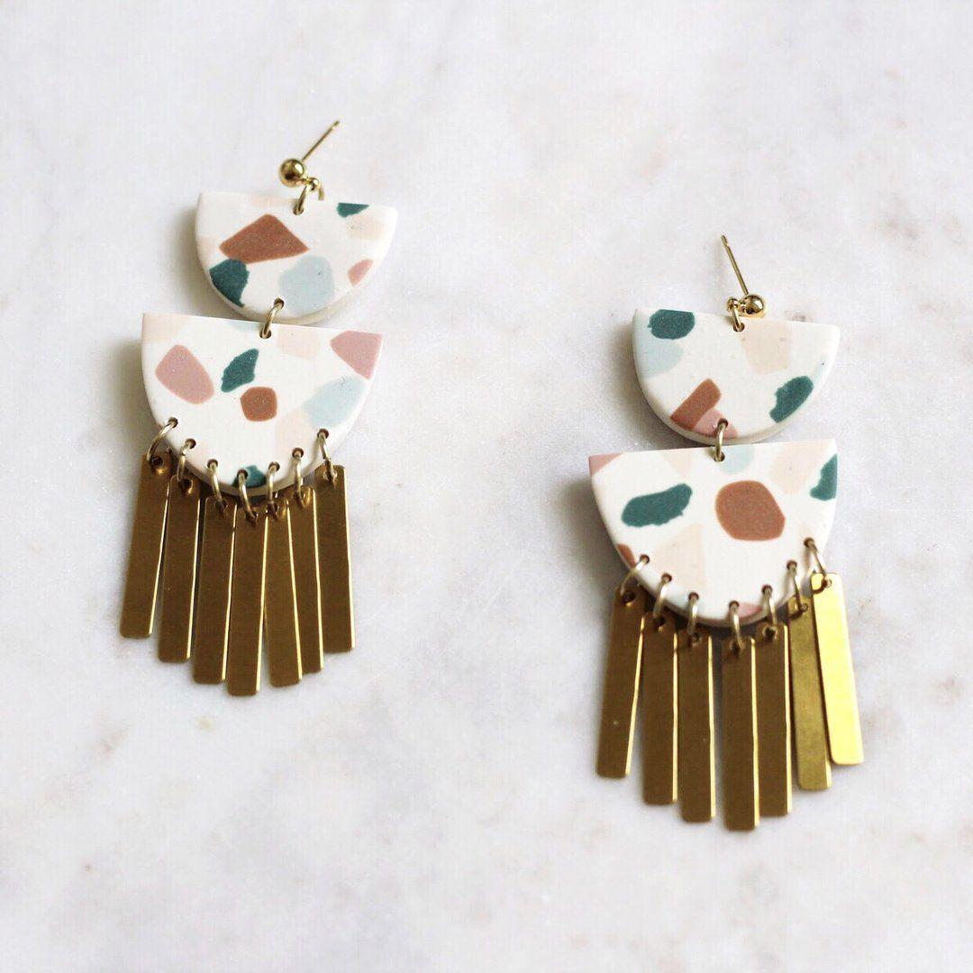 Terrazzo No. 2 // Polymer Clay & Brass Earring Polymer