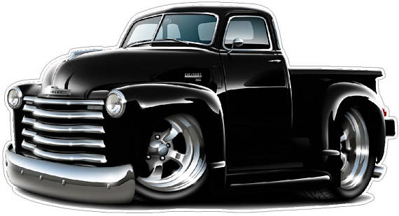 1950 52 Chevy Truck Wall Decal Vintage Classic Cartoon Car