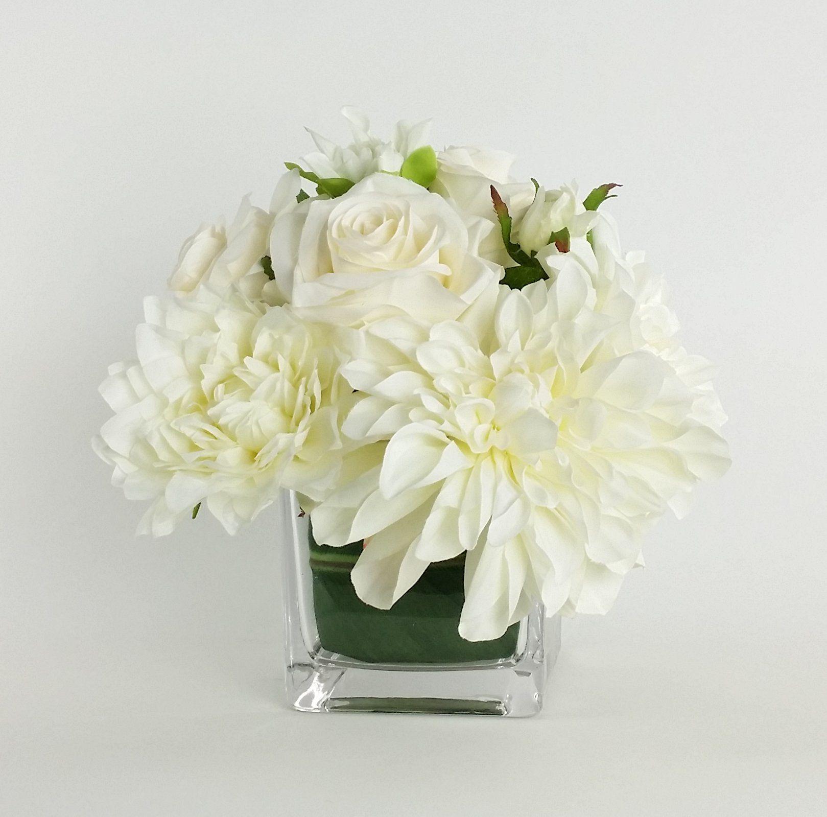 Artificial Silk Mixed Floral Arrangements In Decorative Vase Vases Decor Floral Arrangements Floral