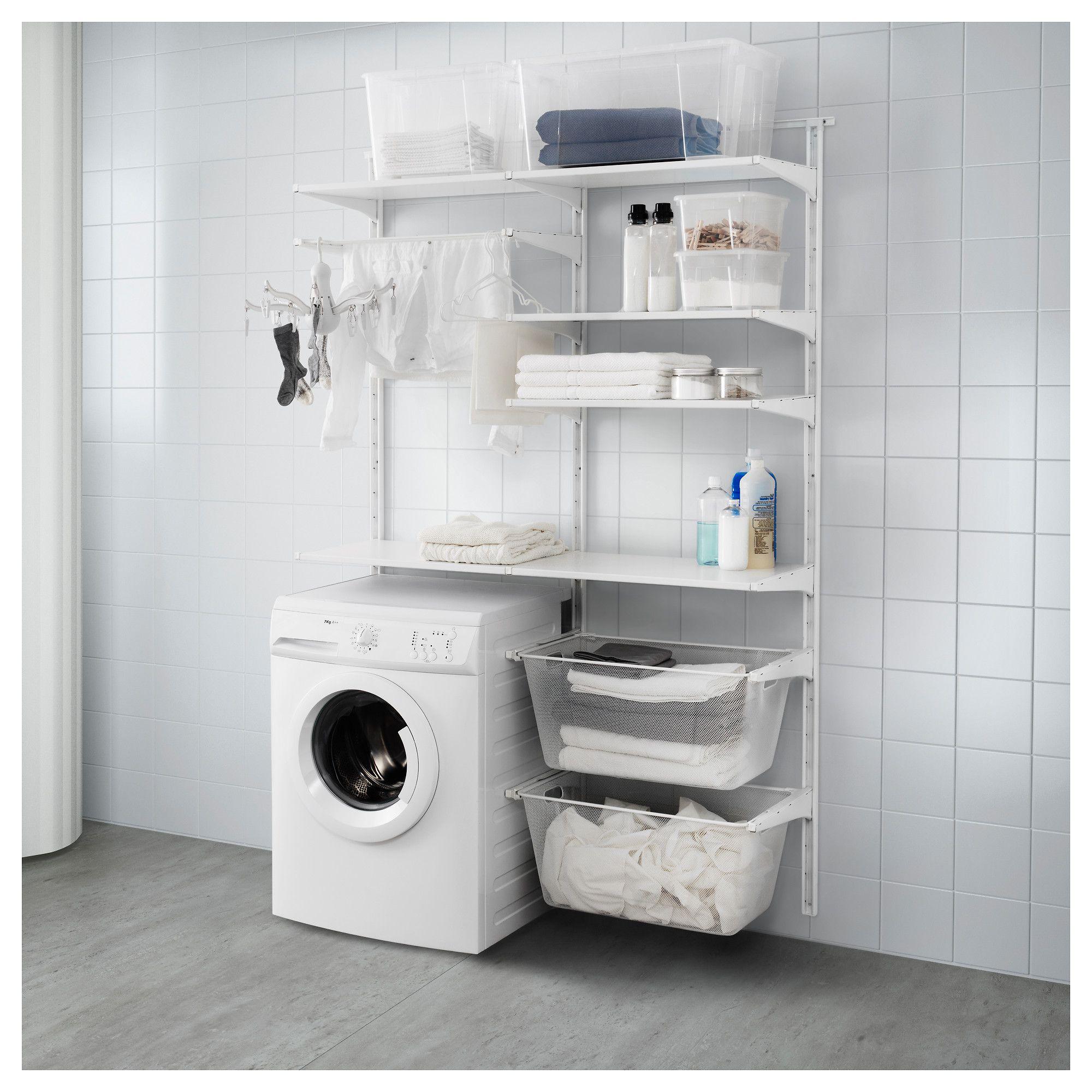 ikea algot wall upright shelves drying rack white pinterest rh pinterest com ikea shelves laundry room ikea laundry shelving