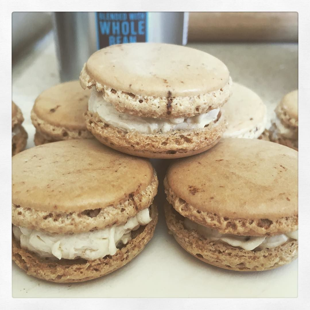 Coffee with coffee and cream buttercream macarons