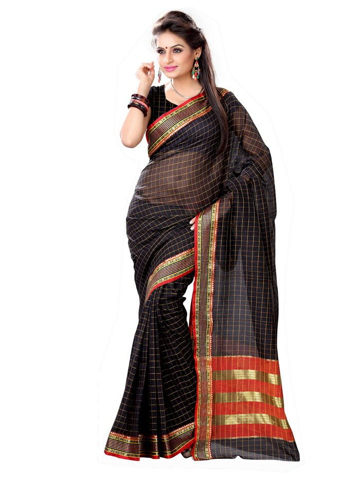 The black saree is very tempting and ravishing. The orange and golden used in the pallu is enticing. The white checkered patterns gives a distinctive style.  Buy now : http://goo.gl/58JFGw