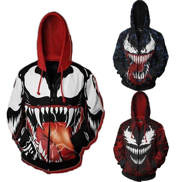 Trendy Herren Hoodies Jacke 3D Venom und Carnage Printed Zip Mantel Pullover ACG Drawstring Hooded