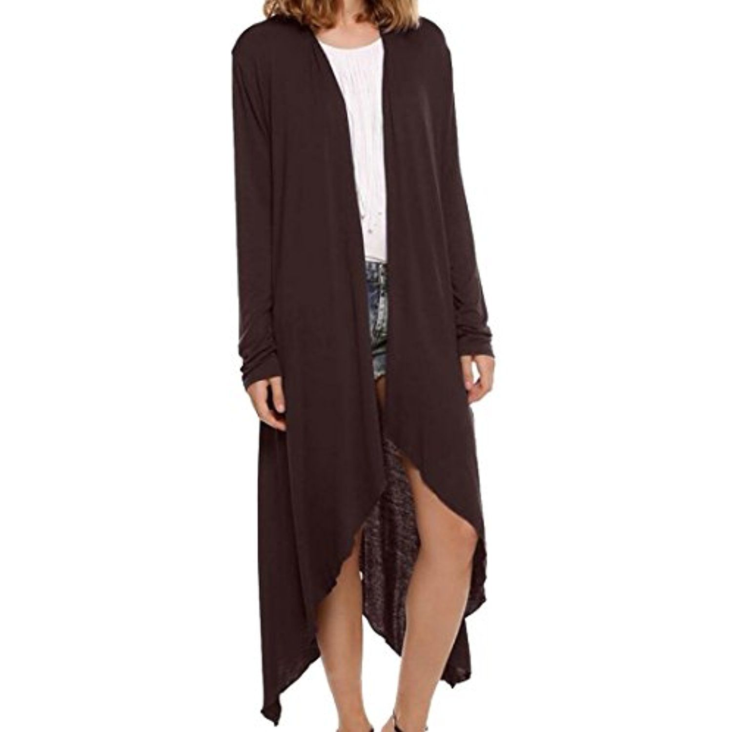 Womens Casual Open Front Solid Long Sleeve Maxi Knit Cardigans ...
