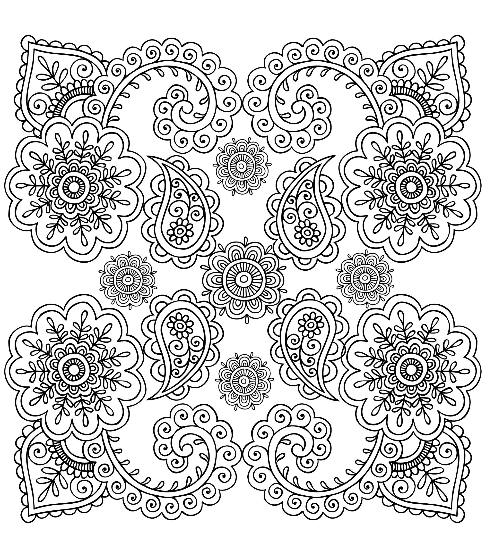 Free Coloring Page «coloring Anti Stress Flowers» Adult