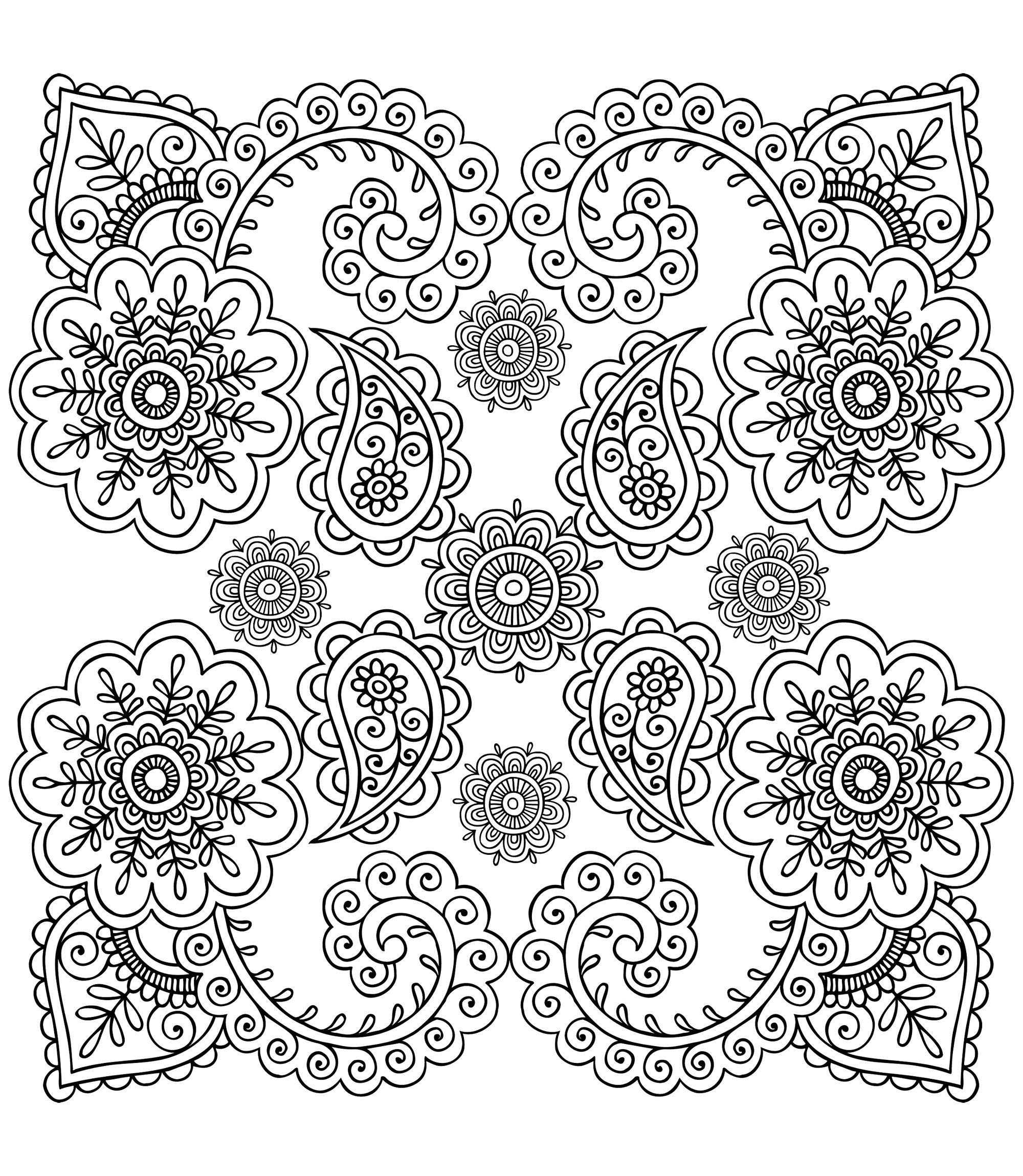 Free Coloring Page Coloring Anti Stress Flowers Mandalas