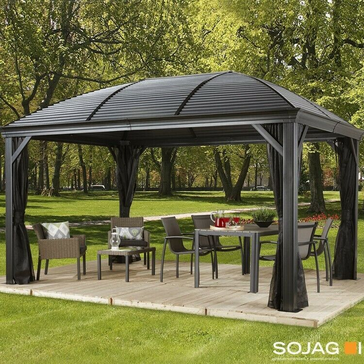 Steel Hardtop Gazebo 14x10 Ft Steel Roof Patio Waterproof Shelter Garden Net Set Ebay Sales Value4moneydeals Gazebo Hardtop Gazebo Patio Sofa Set