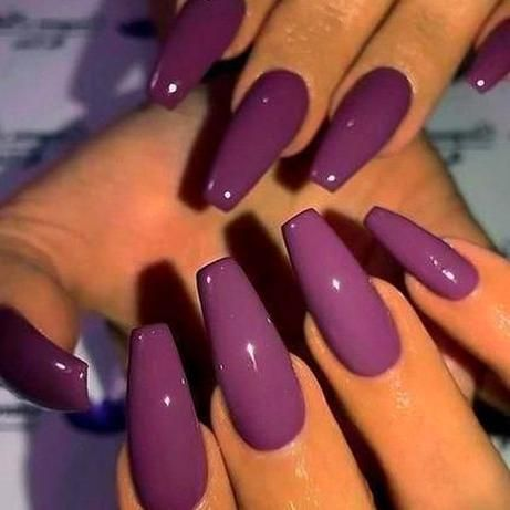 inspo plum purple on long coffin nails     picture and